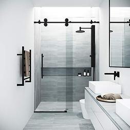 VIGO Elan Adjustable Frameless Sliding Shower Door, Matte Bl