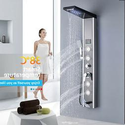 ELLO&ALLO Shower Panel Tower LED Rain Waterfall Massage Syst