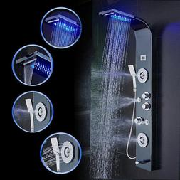 ELLO&ALLO Shower Panel Tower LED Rain&Waterfall W/Massage Bo