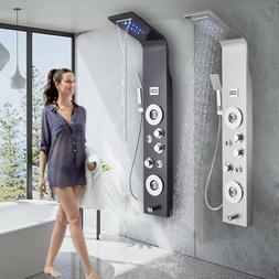 ELLO&ALLO Shower Panel Tower System LED Rain Head Combo Mass