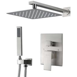 """EMBATHER Shower System- Brushed Nickel 8"""" Square Shower Fauc"""
