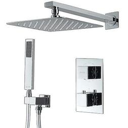 """Esnbia 8"""" Rainfall Thermostatic Shower Systems Combo Set W/H"""