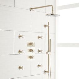 Exira Thermostatic Shower System with Hand Shower and 6 Body