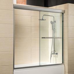 """60"""" Framed 1/4"""" Clear Glass 2 Sliding Bath Shower Door Brush"""