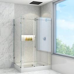 36 x 48 Frameless 3/8 Shower Enclosure with Left Base:
