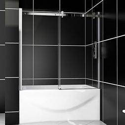 """New Frameless 5/16"""" Glass Sliding Bathtub Shower Door Chrome"""