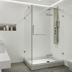 VIGO 32 x 40 Inch Frameless Rectangular Hinged-Pivot Shower