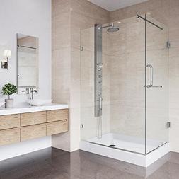 VIGO 36 x 48 Frameless Rectangular Hinged Shower Enclosure w