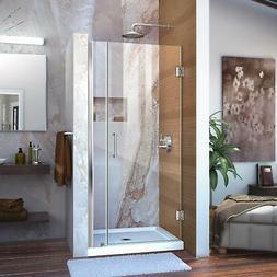 """Dreamline Frameless Shower Door, 28"""" Wide Unidoor w/ 6"""" Stat"""