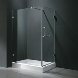 """36"""" x 48"""" Frameless 3/8"""" Shower Enclosure with Right Base:"""