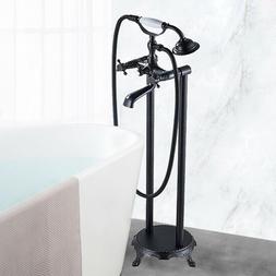 Freestanding Tub Filler Floor Mount Bathtub Faucet & Hand Sh