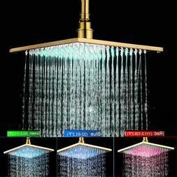 Gold Finish LED  16 inch Bathroom Top Spray Square Rainfall