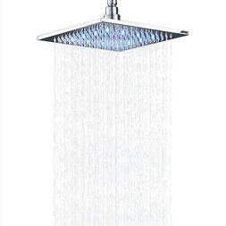 Gold LED 16'' Square Bath Rain Shower Head Bathroom Faucet W