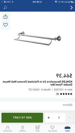 Kohler K-10553-CP Devonshire 24-Inch Double Bathroom Towel B