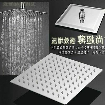 16 Rain Square Shower Head Wall Mounted Top Sprayer Stainless Steel