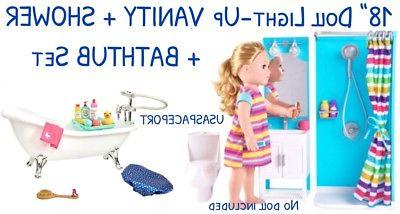 18 doll bathroom bathtub shower vanity set