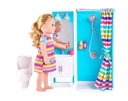 18 in doll bathroom shower set light
