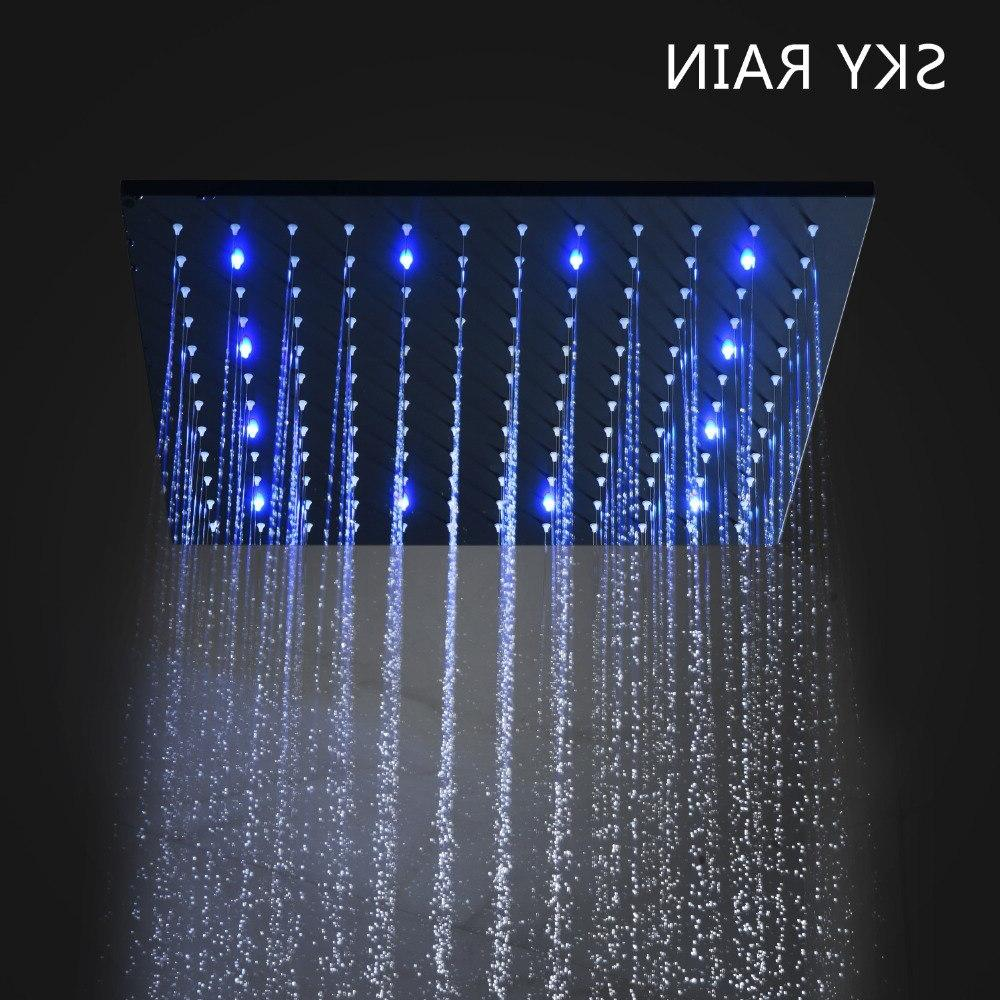 304 SUS Light <font><b>Shower</b></font> <font><b>Panel</b></font> Heads Bathroom Rainfall Set With Hand