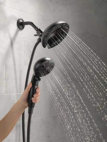 Delta 5-Spray In2ition 2-in-1 Dual Hand Held Shower Hose and Matte 58480-BL-PK