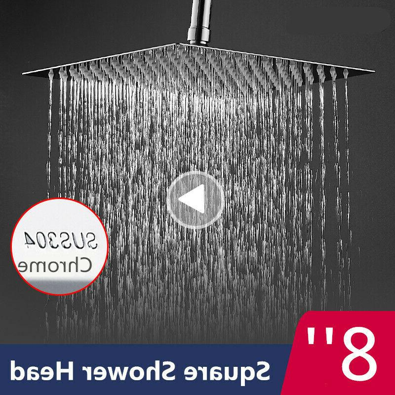 8 Inch Rain Shower Head Nickel 304 Stainless Steel Thin