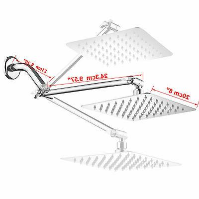 8-inch Stainless Square Rainfall Extension Arm Chrome