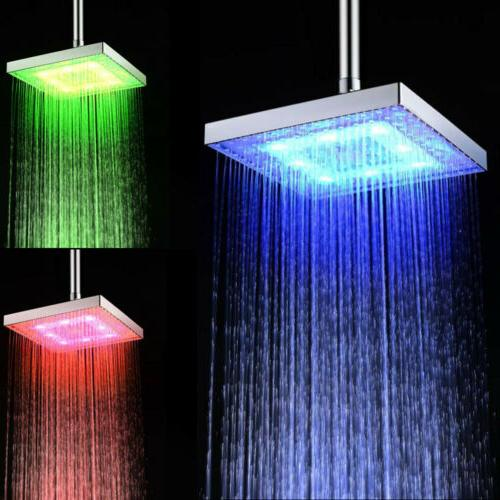 "8"" Square LED Light Rain Shower Color for Bathroom USA"