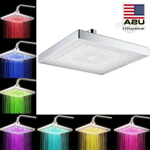 8 square led light rain shower head