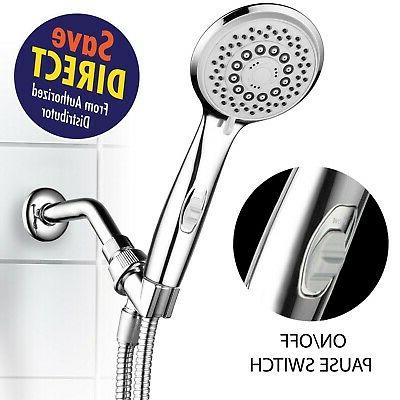 HotelSpa High-Pressure 7-Setting Handheld Shower Head with 4