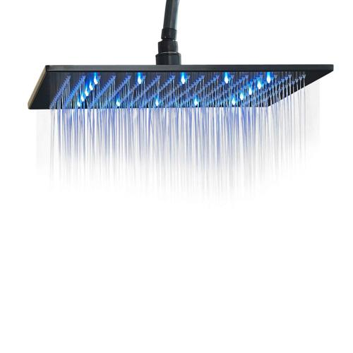 Rozin LED Light 16-inch Rainfall Shower Head Bathroom Square