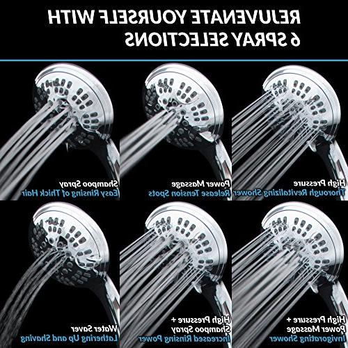 ShowerMaxx Series | Settings 4.5 inch Held | Extra Hose MAXX-imize Shower Easy-to-Remove Flow Restrictor Polished Finish