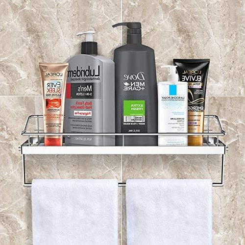 Orimade Adhesive Shelf With Tower Rack Shower Toilet Storage Organizer Mounted Stainless Steel No Drilling
