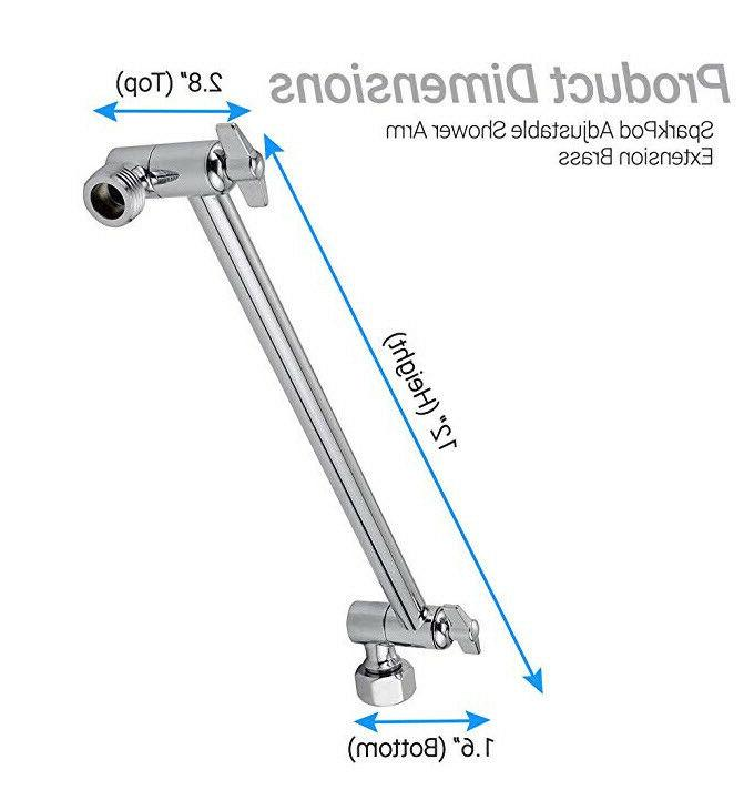 Adjustable Shower Wall Mount Extension Head 12in