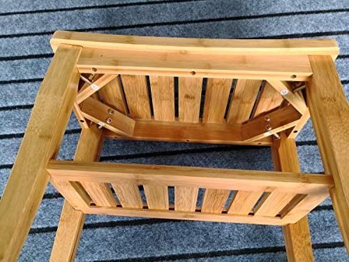 OUTDOOR DOIT Shower Bench with Storage Shelf, Spa Stool Bamboo Shower Stool Bathroom Indoor Home Garden