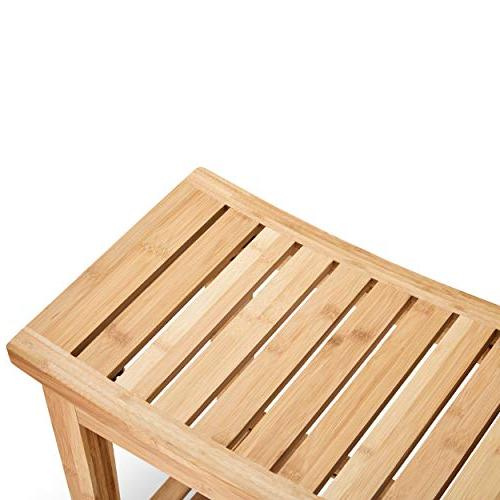 "Morvat Bamboo and Bamboo Shower Seat, Bathroom Furniture, Shower Chair, Bathroom Bench, Bench, from Waterproof Bamboo Wood, 19""x18""x12"""