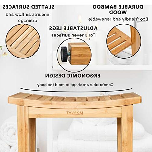 Morvat Bamboo and Mat, Shower Seat, Furniture, Shower Tub Bathroom Small Bench, Made Waterproof
