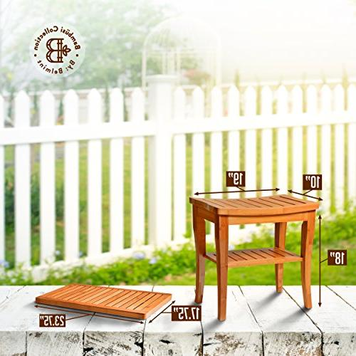 Bamboo Shower Bench with Bathroom for Indoor Decor, Natural