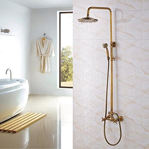 Rozin Bathroom 2 Mixer Rainfall Units with Hand Antique Brass