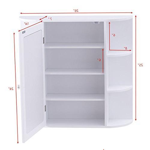 Tangkula Bathroom Cabinet Door Mount Mirror Organizer Storage