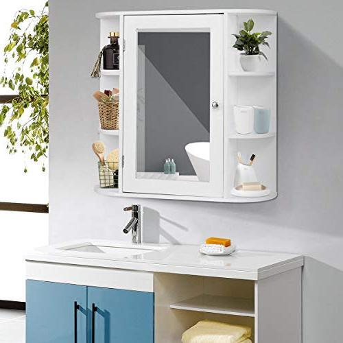 Tangkula Bathroom Door Mount with Mirror Storage