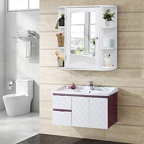 Tangkula Bathroom Door Mount Mirror Organizer Storage