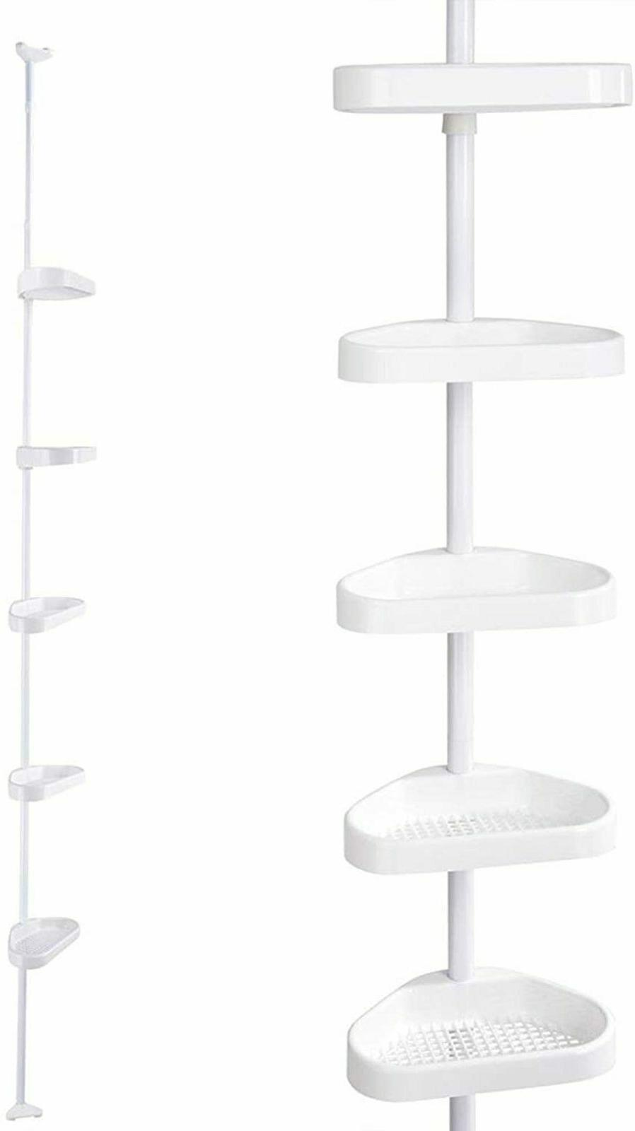 Bathroom Corner Shelf Bath Shower Caddy Pole Storage Rack To