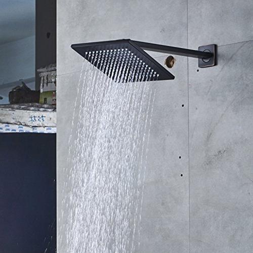 Rozin Bathroom Diverter Mixer Shower Set 8-inch Top Rainfall Showerhead Handheld Oil Rubbed
