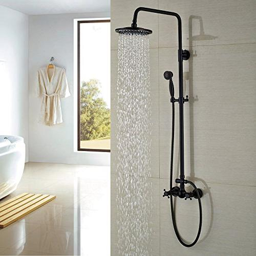 Rozin Set 2 Knobs 8-inch Rainfall Shower + Hand Rubbed
