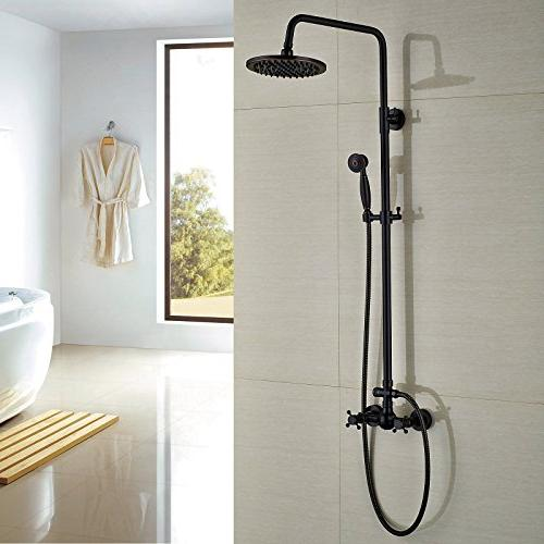 Rozin Bathroom Shower Faucet Set Mixing 8-inch Rainfall + Hand Rubbed