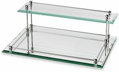 bathroom tray storage shelf glass 2 tier