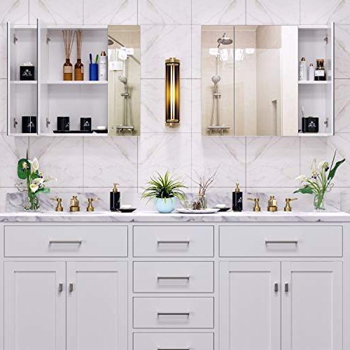 HOMFA Bathroom Mirror Cabinet The Saver Storage Medicine Kitchen 3 Door,