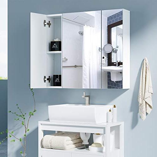 "HOMFA Bathroom Wall Cabinet 27.6"" The Toilet Saver Storage Cabinet Medicine Cabinet Kitchen Mirror Door,"