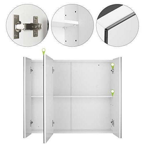 HOMFA Bathroom Mirror Cabinet Wide, The Space Storage Medicine Kitchen Cupboard 3 Door,