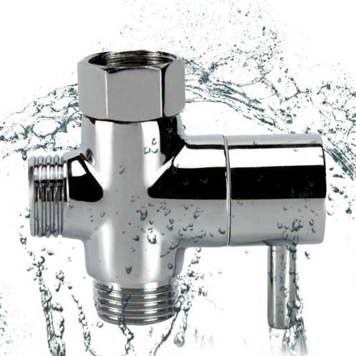 """G1/2"""" T-Adapter 3-Way Brass Shower Diverter With Valve For T"""