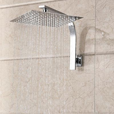 Brushed Square Rain Shower Arm Wall Mount Top Heads